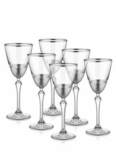 The Mia Glam Şarap Kadehi 6 Parça- Gümüş Gümüş